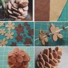 Flower Crafts, Diy Flowers, Fabric Flowers, Paper Flowers, Felt Flower Diy, Felt Flowers Patterns, Felt Flower Tutorial, Felt Christmas Ornaments, Christmas Crafts
