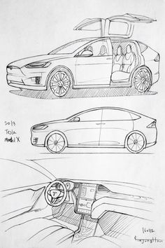 Car drawing 160112. 2013 Tesla Model-X. Prisma on paper. Kim.J.H