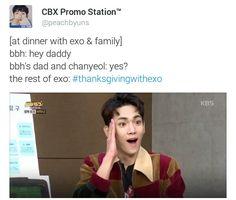 Chanbaek no jantar em família. ..