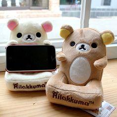 Cute&Soft Rilakkuma Bear Plush Mobile Desk Holder Iphone cell phone Organizer