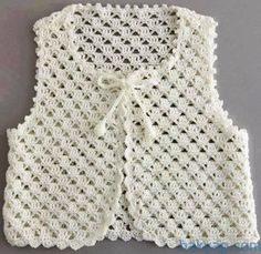 Stricken Anleitung :Crochet vest for your children Crochet Jacket Pattern, Crochet Poncho, Crochet Lace, Crochet Flower, Crochet Girls, Crochet Baby Clothes, Crochet Summer, Knit Baby Sweaters, Baby Knitting