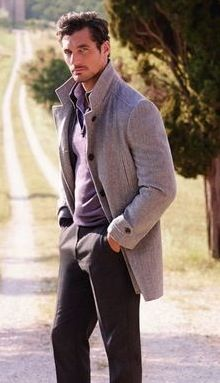 David Gandy w/ coat, slacks, and pullover sweater
