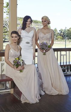 Giselle Bridal Dress with Claudia Sequin Blush Bridesmaids by Tania Olsen designs
