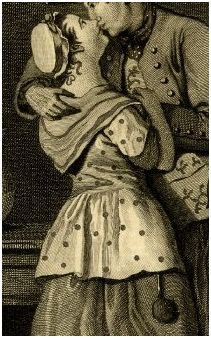 """Detail of """"The Mutual Embrace.""""  Satire: a girl kisses a young soldier with a wooden leg while an old woman dozes by the fire. 10 March 1774 Engraving by John Goldar after a painting by John Collett.  Her bedgown (jacket) has polka dots!"""