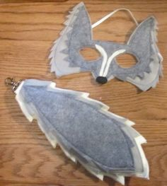 Felt Gray Wolf Mask and tail - big bad wolf.