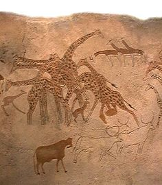 Before the Sahara became a desert, it was home to many savanna animals, including the giraffe. People began to paint and etch the Sahara's animals in desert rock about 12,000 years ago. Archaeologists estimate that the oldest remaining pictures date back to 6500 B.C.