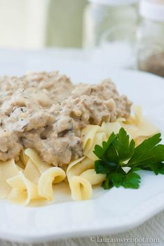 Turkey Stroganoff ~~~ Use ground turkey breast, low fat versions of milk and sour cream to lighten this great recipe up even more.
