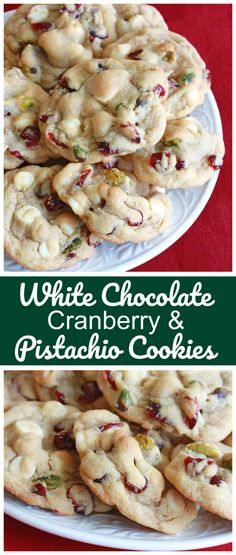 White chocolate, cranberries (or cherries) and pistachios.The three traditional Christmas colors wrapped up in one incredibly delicious cookie! The three traditional Christmas colors are wrapped into one incredibly delicious cookie! Köstliche Desserts, Delicious Desserts, Yummy Food, Dessert Recipes, Plated Desserts, Yummy Cookies, Holiday Cookies, Brownie Cookies, Gourmet Cookies