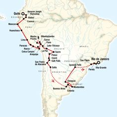 Map of the route for The Great South American Journey - Quito to Rio Adventure