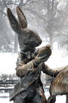 NYC.  New York City. Central Park. The white rabbit. Well technically, he is a bronze rabbit created by sculptor Jose de Creeft that represents the white rabbit from Alice in Wonderland in this Central Park statute. New York City  NYC. JC Findley