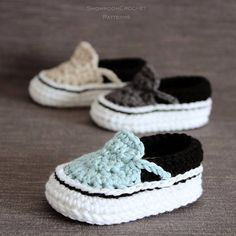 Crochet PATTERN. Vans style baby sneakers. These are just too cute