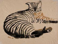 "Viola Gråsten (Swedish, 1910-1994) - ""Cat 12"", 1983 - Watercolour on paper"