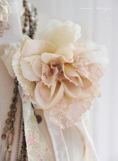 Pretty flower of scrap fabric and lace