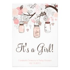 Pink Mason Jars & Lovebirds Baby Shower Invitation :: http://buy-the-new.com/giftstore/gift.php?pid=161436481438963588&rf=238275595751652200