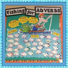 Fishing for Adverbs - Working 4 the Classroom - could keep changing all year based on grammar focus