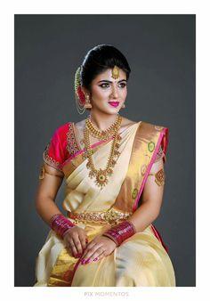 25 Modish White Bridal Silk Saree to try for your Wedding - Wedandbeyond Bridal Sarees South Indian, Bridal Silk Saree, Indian Bridal Fashion, South Indian Bride Jewellery, South Indian Weddings, Silk Sarees, Indian Wedding Makeup, Indian Wedding Bride, Bridal Makeup