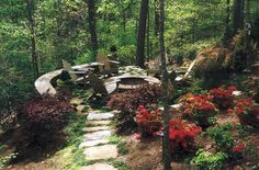 Great little sitting area. Great site...lots of ideas for woodland gardening as well as uses for rocks.