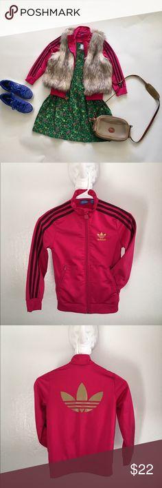 Adidas track jacket Adidas magenta and gold track jacket. CUTE over winter dresses! Adidas Jackets & Coats