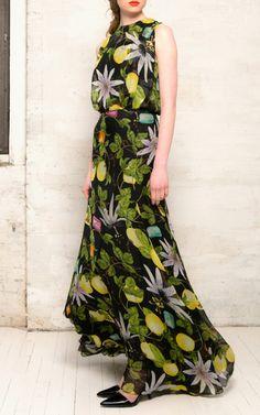 Passion fruit print silk dress by Isolda