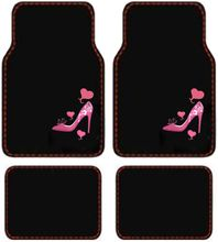 Pink Heart & High Heel Shoe car floor mat set.
