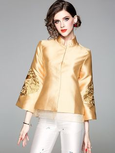 2018 Fall Golden Embroidered Women Qipao / Cheongsam Jacket Cheongsam Wedding, Cheongsam Dress, Chinese Clothing, Classy Casual, Blazer, Ao Dai, Traditional Outfits, Blouse, Couture