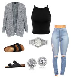 """Untitled #95"" by jadechanteon on Polyvore featuring Miss Selfridge, Topshop, Birkenstock, Journee Collection and Icz Stonez"