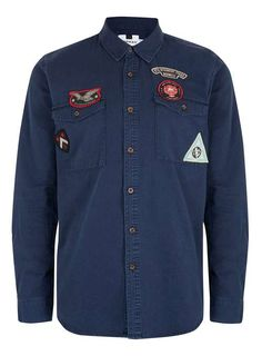 Navy Long Sleeve Badge Shirt - Men's Shirts - Clothing - TOPMAN EUROPE