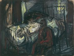 Mother at her Son's Deathbed, 1949,  Samuel Bak,  Oil on paper  24x31.5 cm.  Collection of the Yad Vashem Art Museum, Jerusalem  Gift of the artist