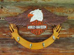 Harley Davidson wooden coat rack