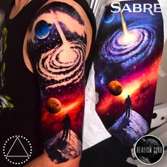 minerva   Major Tom and Galaxy Tattoo by Saga Anderson @inkbysaga #SagaAnderson #InkbySaga #Realistic #Galaxy #Cosmic #Universe #Stars #Planets #MajorTom #astronaut #Realismclub