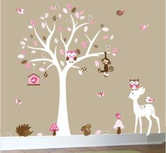 Childrens wall decal forest nature decal set pink and brown. $129.00, via Etsy.