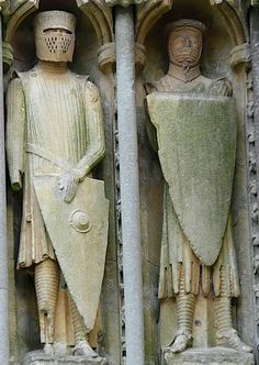 Wells Cathedral, West Front Statues 123 Knight & 124 St Maurice ca 1240 Medieval World, Medieval Knight, Medieval Armor, Sca Armor, Middle Ages History, Late Middle Ages, Armadura Medieval, Stone Statues, Ancient Mysteries