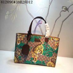 9092b6260fad Gucci 412096 Original Bengal Tiger Green Print Shopping Bag-38678  Whatsapp:86 17097508495