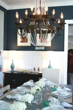 Beachy Dining Room in Navy blue and white