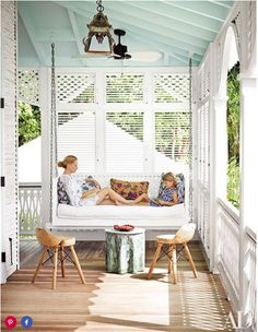 Decorator Celerie Kemble and her daughter, Zinnia, on the porch of their Dominican Republic home— a beachfront retreat for her family with blue ceilings both inside and out. Outdoor Rooms, Outdoor Living, Outdoor Seating, Sleeping Porch, Blue Ceilings, Building A Porch, Building Homes, Building Plans, House With Porch