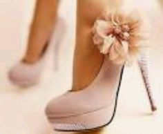 WANT!! Get a flower and attach to nude heels. Should bedazzle with clear studs heel and toe