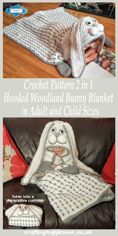 Crochet Pattern: Hooded Woodland Bunny Blanket in Child & Adult Sizes - Crafting Happiness Source by arigoldberry Crochet Bunny Pattern, Crochet Blanket Patterns, Baby Blanket Crochet, Crochet Stitches, Crochet Blankets, Baby Blankets, Crochet Hook Sizes, Crochet Hooks, Manta Animal