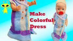 DIY Baby Doll Dress Making Easy Tutorial Cardigan Crafts Baby Doll Toys, Baby Doll Clothes, Doll Clothes Patterns, Diy Clothes, Diy Crafts For Girls, Kids Crafts, Knitted Flower Pattern, Cute Winter Hats, Crochet Animal Hats