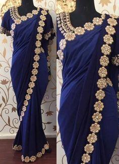 Navy Blue Embroidery Work Satin Georgette Designer  Fancy Sarees http://www.angelnx.com/Sarees