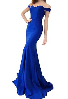 a590f5b47a5 Lily Wedding Womens Off Shoulder Prom Dress Long Satin Mermaid Evening  Formal Ball Gown Size 4