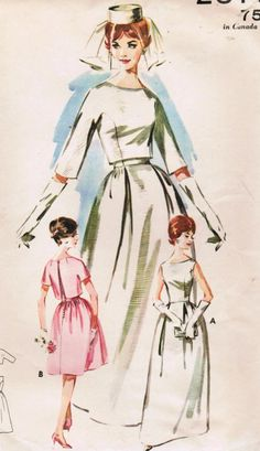 1960s Butterick Pattern Misses' Bell Skirted Bridal Gown via Etsy.