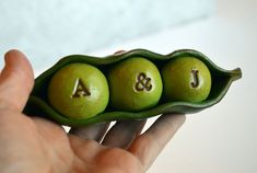 Wedding cake topper...Peas In a Pod... Personalized by SkyeArt