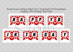 American Ninja Warrior Happy Birthday Banner - Instant Download