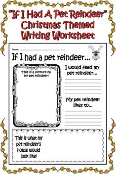 """If I Had a Pet Reindeer…"" Printable Christmas Worksheet! This worksheet really helps your children's imagination run wild! They will have so much fun thinking about all of the fun things that would go along with having a pet reindeer! Writing Worksheets, Writing Activities, Educational Activities, Free Printable Christmas Worksheets, Preschool Christmas, Christmas Crafts, Christmas Math, Xmas, Christmas Music"