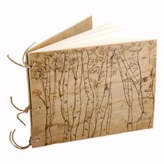 wood burned album birch trees natural wood cover