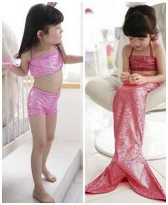 What little girl wouldn't love to be a mermaid? Child Mermaid Swim Suit and tail