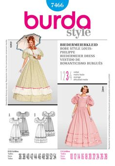 dress with form-fitting bodice, generous neckline, large sleeves and a ruffled skirt. dress a with straps and self-made roses, dress b with a broad lace border.