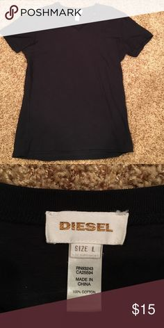 Diesel V-Neck T-Shirt (Black) Large black Diesel v-neck t-shirt Diesel Shirts Tees - Short Sleeve