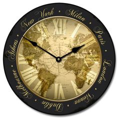 28 best world map clocks images on pinterest world maps wall world traveler map clock in many sizes on sale at http gumiabroncs Choice Image