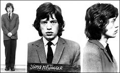 Mick Jagger Arrested during a raid on Keith Richards' home in England. The mug shot to put all other mug shots to shame. Celebrity Mugshots, Singing Tips, Singing Lessons, Famous Musicians, Keith Richards, Mick Jagger, British History, British Rock, Celebs